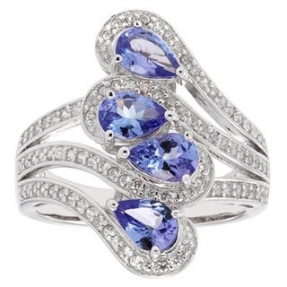 Sterling Silver Tanzanite and White Topaz Ring