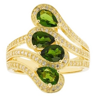 14k Gold-plated Sterling Silver 4 Pear-shape Chrome Diopside and White Zircon Ring