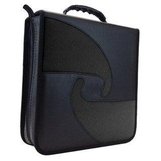 Black Vinyl PU Leather 240 Capacity Compact Disc CD/DVD/Blu-Ray Nylon Weatherproof Media Wallet Folder Red, Blue, or Green Trim