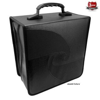 Black High-quality Leather/PU Vinyl/Nylon Jumbo Capacity 520 Compact Disc CD/DVD/Blu-Ray Media Wallet Folder With Assorted Trim