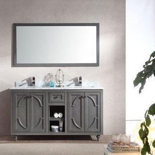 LAVIVA Odyssey Collection White/Grey Maple Cabinet 60-inch Vanity with Marble Countertop