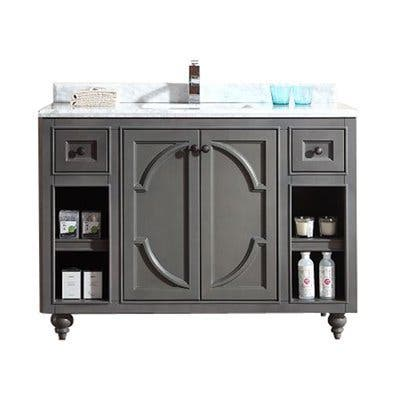 LAVIVA Odyssey Collection White/Grey Maple Cabinet 48-inch Vanity with Marble Countertop