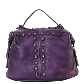 Link to Diophy Genuine Leather Floral Studded Decor Medium Top-handle Handbag Similar Items in Shop By Style