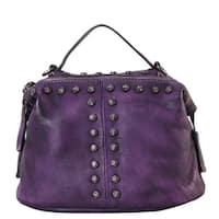 Diophy Genuine Leather Floral Studded Decor Medium Top-handle Handbag