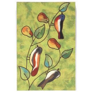 Birds In Pear Tree Outdoor Rug (2' x 3')