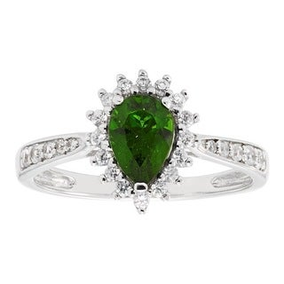 Sterling Silver Chrome Diopside White Zircon Ring