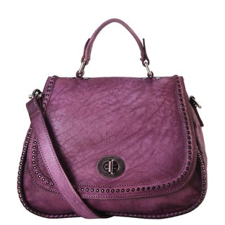Diophy Purple Genuine Leather Studded Top-handle Medium Handbag