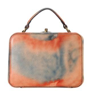 Diophy Distressed Genuine Leather Turn-Lock Box Tote Handbag|https://ak1.ostkcdn.com/images/products/12352271/P19180366.jpg?impolicy=medium