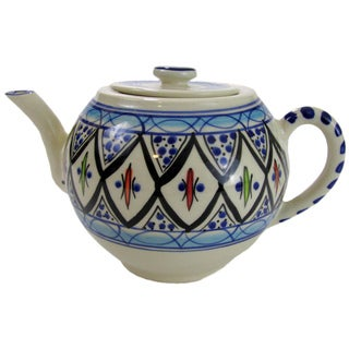 Handmade Le Souk Ceramique Tibarine Stoneware Teapot (Tunisia)