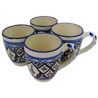 Le Souk Ceramique Tibarine Stoneware Coffee or Tea Cups (Set of 4) (Tunisia)