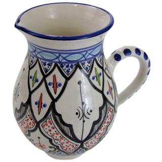 Le Souk Ceramique Tibarine Large Stoneware Pitcher (Tunisia)