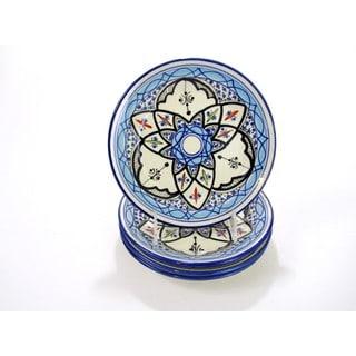 Handmade Set of 4 Le Souk Ceramique Tibarine Stoneware Side Plates (Tunisia)