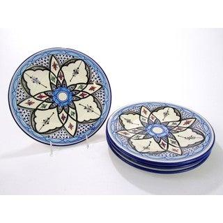 Handmade Set of 4 Le Souk Ceramique Tibarine Stoneware Dinner Plates (Tunisia)
