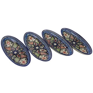 Set of 4 Le Souk Ceramique Tibarine Small Stoneware Oval Platters (Tunisia)