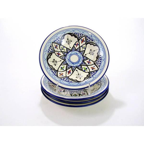 Handmade Set of 4 Le Souk Ceramique Tibarine Stoneware Pasta/Salad Bowls (Tunisia)