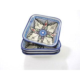Set of 4 Le Souk Ceramique Square Tibarine Stoneware Pasta/Salad Bowls (Tunisia)