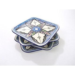 Le Souk Ceramique Set of 4 Square Tibarine Stoneware Plates (Tunisia)