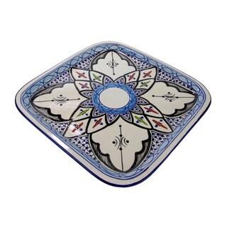 Le Souk Ceramique Square Tibarine Stoneware Platter (Tunisia)