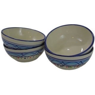 Set of 4 Le Souk Ceramique Tibarine Stoneware Deep Sauce/Ice Cream Bowls (Tunisia)