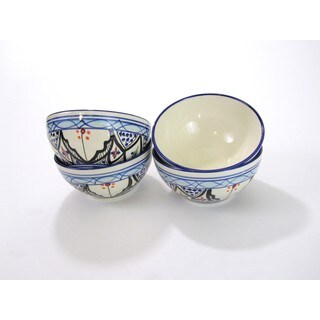 Set of 4 Le Souk Ceramique Tibarine Stoneware Soup/Cereal Bowls (Tunisia)