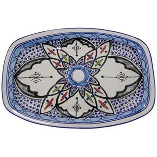Le Souk Ceramique Rectangular Tibarine Stoneware Platter (Tunisia)