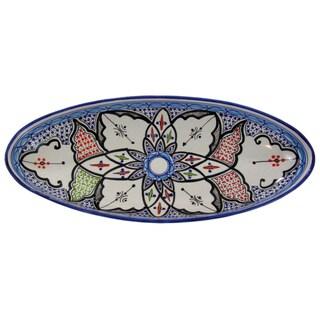 Le Souk Ceramique Tibarine Extra Large Stoneware Oval Platter (Tunisia)