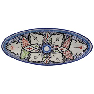 Handmade Le Souk Ceramique Tibarine Extra Large Stoneware Oval Platter (Tunisia)
