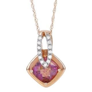 H Star 10k Rose Gold Maui Topaz and Diamond Accent Pendant (H-I, I1-I2)