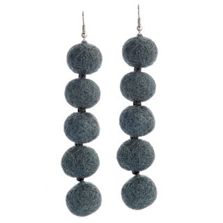 Wool Felt Grey Pompom Earrings (Nepal)