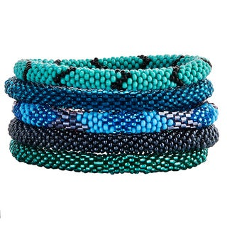 Set of 5 Multi-color Stackable Beaded Bracelets (Nepal)