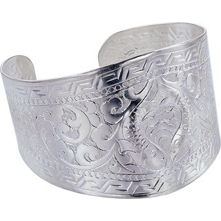Fish Design Wide Metal Cuff Bracelet (Nepal)