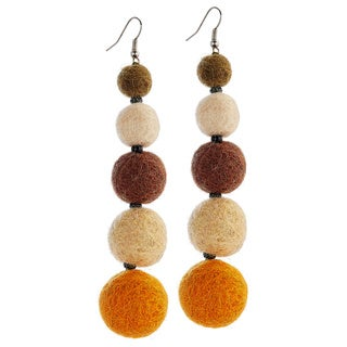 Wool Felt Pompom Earth Tones Earrings (Nepal)