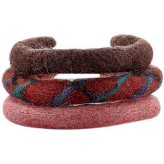 3 Wool Felt Stackable Adjustable Cuff Bracelets (Nepal)