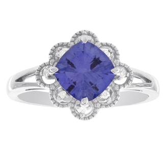 10k White Gold Created Blue Garnet and Diamond Accent Ring