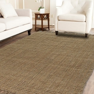 Handspun Boucle Natural Jute Rug With Fringes (5'X8')