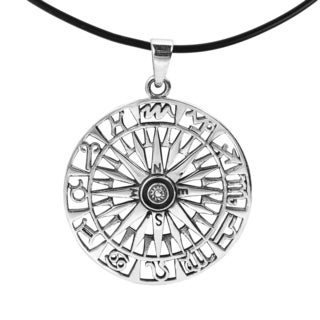 Zodiac Compass Sterling Silver Black Rubber Necklace (Thailand)