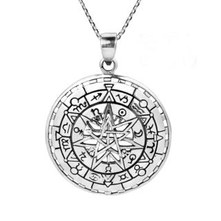 Mystical Zodiac Compass Calendar Sterling Silver Necklace (Thailand)