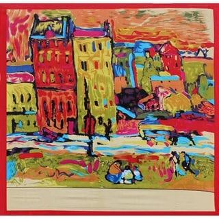 Modern Art Street Scene 36-inch Square Silk Scarf