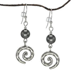 Jewelry by Dawn Hematite Pewter Swirl Earrings