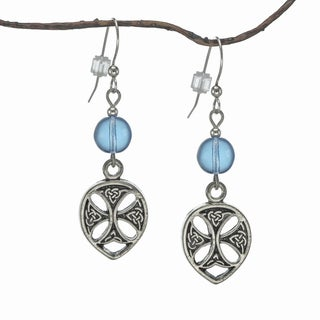 Jewelry by Dawn Light Sapphire Blue Pewter Celtic Teardrop Earrings