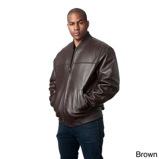 Mason & Cooper Men's Red Leather Bomber Jacket (More options available)