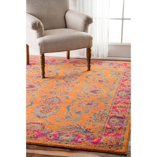 nuLOOM Persian Vintage Floral Orange Runner Rug (2'8 x 8')