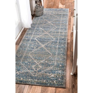 nuLOOM Persian Mamluk Diamond Blue Runner Rug (2'8 x 8')