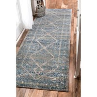 nuLOOM Persian Mamluk Diamond Blue Runner Rug - 2'8 x 8'