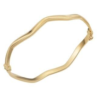 Fremada Italian 14k Yellow Gold 4-mm Satin Finish And High Polish Wave Bangle Bracelet