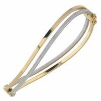 Fremada Italian 14k Two-Tone Gold 6-mm High Polish And Glass Blast Finished Wave Double Bangle Bracelet