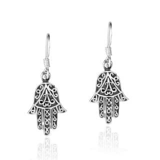Delicate Swirl Hamsa Hand Sterling Silver Dangle Earrings (Thailand)