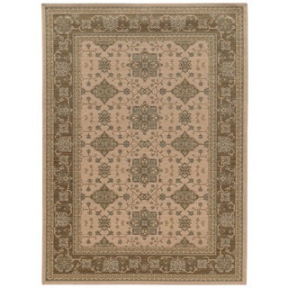 Traditional Border Beige/ Sand Rug (3'10 x  5' 5)