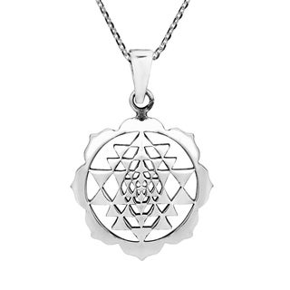 Sri Yantra Chakra Om Geometry Sterling Silver Necklace (Thailand)