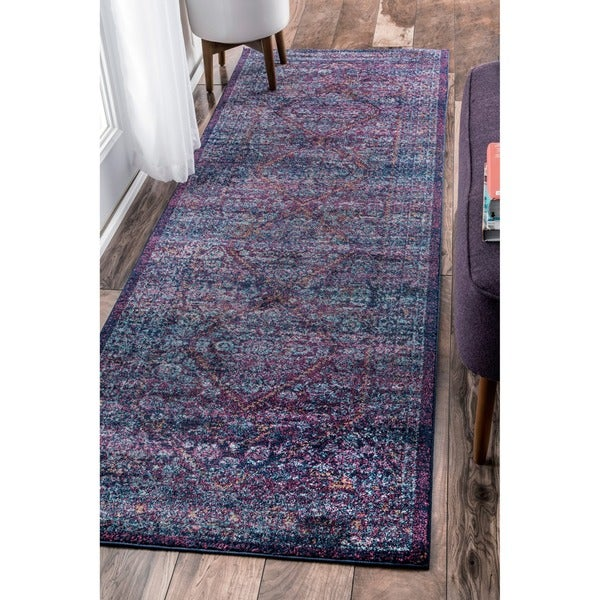 Captivating NuLOOM Persian Mamluk Diamond Purple Runner Rug (2u0026#x27 ...